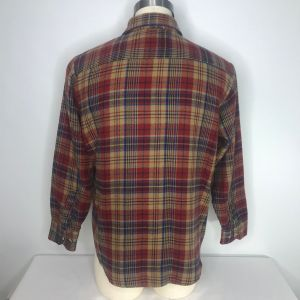 Vintage 70s Sears Mens Store Plaid Flannel Button Up Field Shirt Size L Beige Red Blue - Fashionconstellate.com