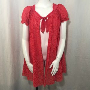 Vintage 60s Sour Cherry Red Lace Nylon Overlay Babydoll Robe Size M Pinup Cheesecake Sexy