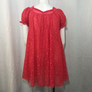 Vintage 60s Sour Cherry Red Lace Nylon Overlay Babydoll Robe Size M Pinup Cheesecake Sexy - Fashionconstellate.com