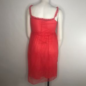 Vintage 50s Sour Cherry Pink Red Sheer Nylon Overlay Nightgown Negligee Size S - Fashionconstellate.com