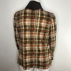 Vintage 70s Peggy Lou Brown Orange Plaid Mod Cowl Neck Blouse Jacket Size L Made In The USA - Fashionconstellate.com