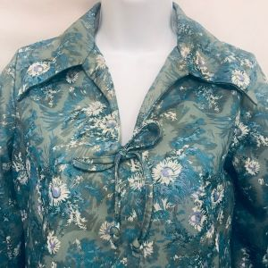 Vtg 70s Floral Polyester Peasant Blouse M Daisies Green Blue White Handmade OOAK - Fashionconstellate.com