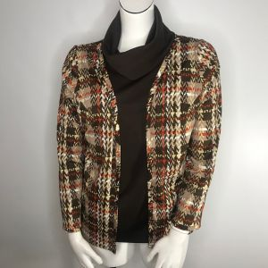 Vintage 70s Peggy Lou Brown Orange Plaid Mod Cowl Neck Blouse Jacket Size L Made In The USA