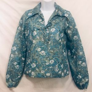 Vtg 70s Floral Polyester Peasant Blouse M Daisies Green Blue White Handmade OOAK