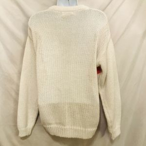 Vintage 80s Cherry Stix Ltd Womens White Abstract Floral Knit Sweater Size M - Fashionconstellate.com
