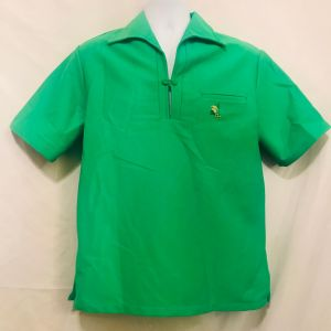 Vintage 60s Sears Hawaii Bright Green Wide Collar Kamehameha Popover Shirt Size L Made In TheUSA