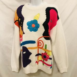 Vintage 80s Cherry Stix Ltd Womens White Abstract Floral Knit Sweater Size M