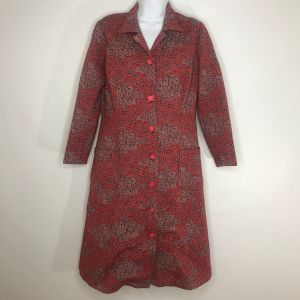Vintage 70s Red Gray Abstract Geometric Print Coat Dress M Square Buttons Handmade Mod