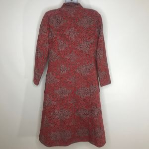 Vintage 70s Red Gray Abstract Geometric Print Coat Dress M Square Buttons Handmade Mod - Fashionconstellate.com
