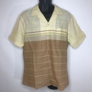 Vintage 80s Mervyns Mens Ivory Beige Woven Striped Button Front Surfer Shirt XL Made In USA