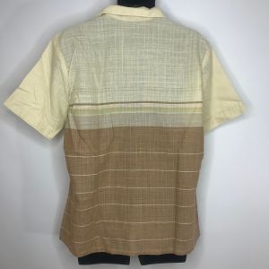 Vintage 80s Mervyns Mens Ivory Beige Woven Striped Button Front Surfer Shirt XL Made In USA - Fashionconstellate.com
