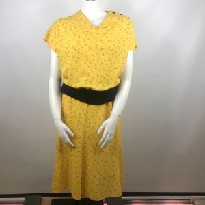 Vintage 80s Lucky Barbara Yellow Black Geometric Knit Blouse Skirt Set Size L Made In The USA