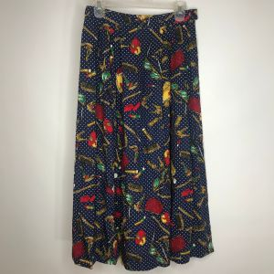 Vintage 80s Pendleton Rayon Skirt 8 Blue Gold Polka Dots Beauty Fashion Pockets Made In The USA