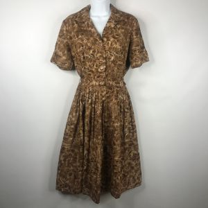 True Vintage 50s Mode O Day Brown Beige Floral Belted Cotton Day Dress Sz 14 Union Made In The USA