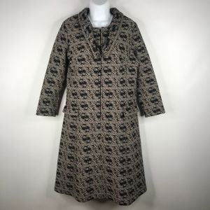 Vintage 70s Mod Black Brown Paisley Polyester Coat Dress Size M Weighted Collar Zip Front