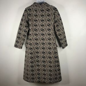 Vintage 70s Mod Black Brown Paisley Polyester Coat Dress Size M Weighted Collar Zip Front - Fashionconstellate.com