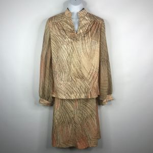 Vintage 70s Beige Brown Orange Abstract Print Polyester Blouse A-line Skirt Set Sz 12 Union Made USA