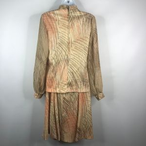 Vintage 70s Beige Brown Orange Abstract Print Polyester Blouse A-line Skirt Set Sz 12 Union Made USA - Fashionconstellate.com