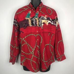 Vintage 80s Rough Rider Mens Red Western Shirt Size M Cowboy Horses Rope Lasso USA Made