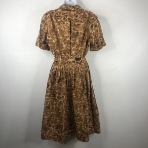True Vintage 50s Mode O Day Brown Beige Floral Belted Cotton Day Dress Sz 14 Union Made In The USA - Fashionconstellate.com