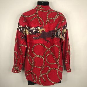 Vintage 80s Rough Rider Mens Red Western Shirt Size M Cowboy Horses Rope Lasso USA Made - Fashionconstellate.com