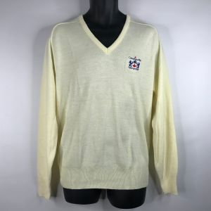 Vintage 80s Canadian Mist Whiskey Pale Yellow Embroidered V-neck Sweater Size L Logo 7