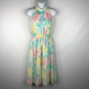 Vintage 80s Bee Darlin Pastel Floral Collared Halter Dress Size 5 Made In The USA