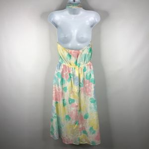 Vintage 80s Bee Darlin Pastel Floral Collared Halter Dress Size 5 Made In The USA - Fashionconstellate.com