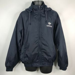 Vtg 90s Adidas Equipment Navy Blue Embroidered Spell Out Windbreaker Jacket Sz L