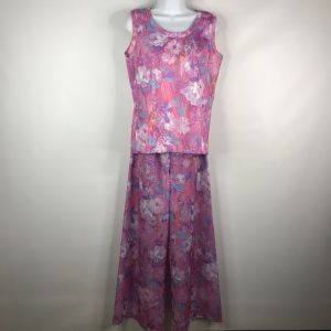 Vintage 70s Pink Purple Floral Polyester 2-Piece Sleeveless Top Palazzo Pants Set Size 14