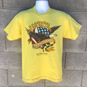 Vintage 1989 Yellow US National Hot Air Balloon Championship Baton Rouge T-shirt Size L American Eag