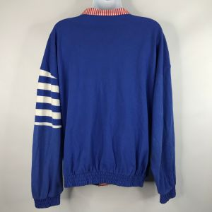 Vintage 80s Casual Isle Red White Blue Striped Color Block Nautical Yacht Rock Cardigan Sweater Size - Fashionconstellate.com