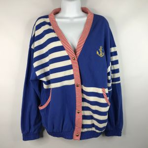 Vintage 80s Casual Isle Red White Blue Striped Color Block Nautical Yacht Rock Cardigan Sweater Size