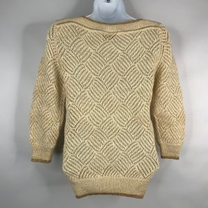 Vintage 80's Contempo Casuals Ivory Gold Open Knit Boat Neck Sweater Size M - Fashionconstellate.com