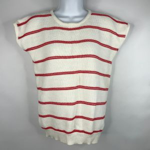 1980's Favorites White Red Striped Textured Cotton Cap Sleeve Sweater Size Large