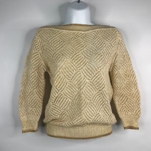 Vintage 80's Contempo Casuals Ivory Gold Open Knit Boat Neck Sweater Size M