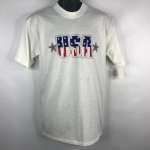 Vintage 90s Dead Stock White USA Graphic T-shirt Size M Single Stitch All Sport Events