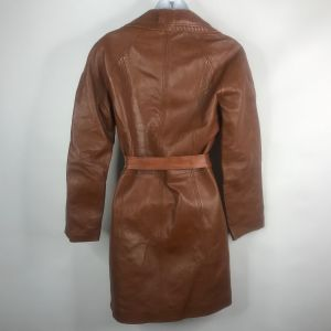 Vintage 70s Leda Spain Gropper Womens Toffee Brown Belted Leather Overcoat Jacket Size M - Fashionconstellate.com
