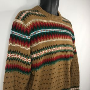 1970s Light Brown Red Striped Flame Stitch Jumper Sweater Size Large