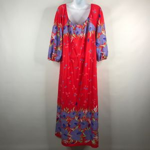 Vintage 70s Sears At Home Wear Orange Red Purple Floral Nightgown Lounge Dress Size S - Fashionconstellate.com