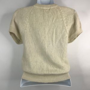 Vintage 80s Italian Mob Floral Beaded Ivory Fuzzy Angora Blend Sweater Size S - Fashionconstellate.com