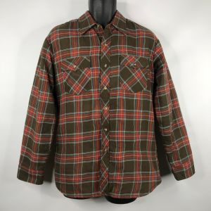 Vintage 70s Campus Rugged Country Mens Brown Red Plaid Quilted Shirt Size M