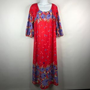 Vintage 70s Sears At Home Wear Orange Red Purple Floral Nightgown Lounge Dress Size S