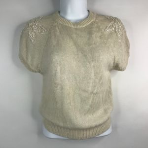 Vintage 80s Italian Mob Floral Beaded Ivory Fuzzy Angora Blend Sweater Size S