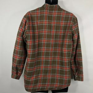 Vintage 70s Campus Rugged Country Mens Brown Red Plaid Quilted Shirt Size M - Fashionconstellate.com