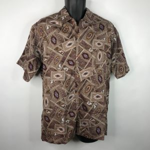Vintage 70s Triumph Of California Brown Southwestern All Over Print Shirt Size L