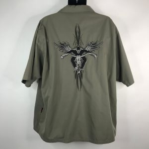 Vintage 90s Dragonfly Roadhouse Army Green Embroidered Tribal Skeleton Biker Snap Front Shirt Size 2 - Fashionconstellate.com