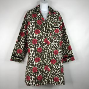 Vintage 80s YIKES Leopard Print Roses Flannel Sleep Shirt Nightgown Size S