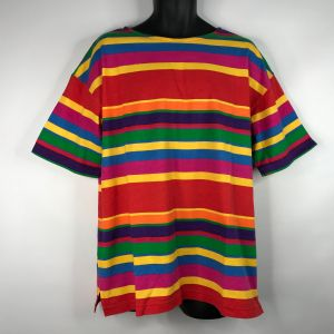 Vintage 80s Dead Stock Boutique Europa Bright Rainbow Striped T-shirt OS One Size