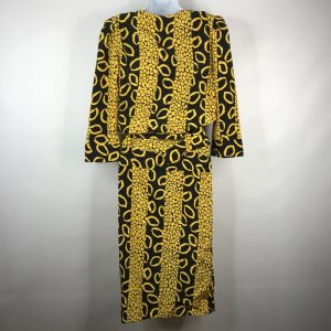 Vintage 90s Does 40s Billy Jack Black Yellow Bold Abstract Belted Blouson Dress Size 7/8 - Fashionconstellate.com